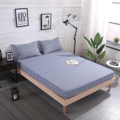 2019新款水洗棉单品格子床笠 适用于15-25cm之内的床垫 90X200+25 渐变兰格