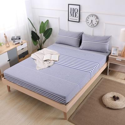2019新款水洗棉单品格子床笠 适用于15-25cm之内的床垫 90X200+25 渐变蓝条