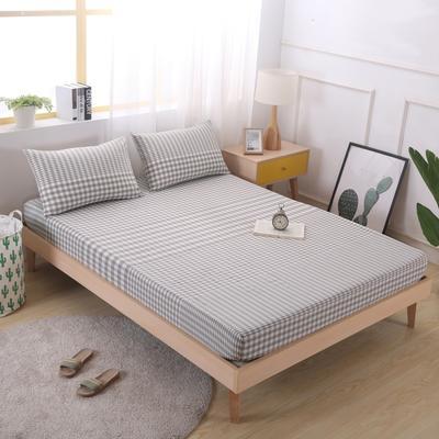 2019新款水洗棉单品格子床笠 适用于15-25cm之内的床垫 90X200+25 渐变米格