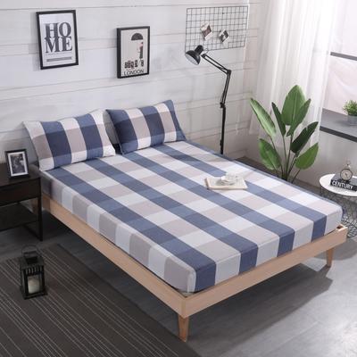 2019新款水洗棉单品格子床笠 适用于15-25cm之内的床垫 90X200+25 蓝大格