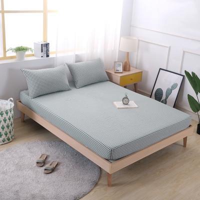 2019新款水洗棉单品格子床笠 适用于15-25cm之内的床垫 90X200+25 绿小格