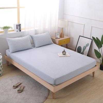 2019新款水洗棉单品格子床笠 适用于15-25cm之内的床垫 90X200+25 浅蓝小格
