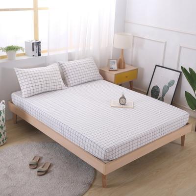2019新款水洗棉单品格子床笠 适用于15-25cm之内的床垫 90X200+25 晚秋