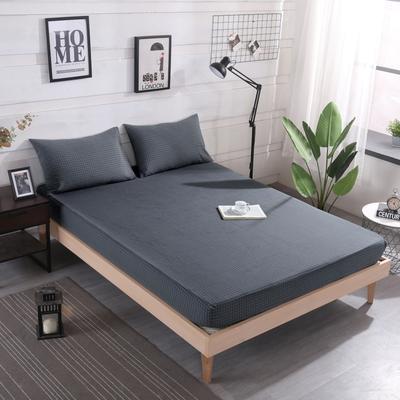 2019新款水洗棉单品格子床笠 适用于15-25cm之内的床垫 90X200+25 小灰格