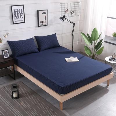 2019新款水洗棉单品格子床笠 适用于15-25cm之内的床垫 90X200+25 小蓝格