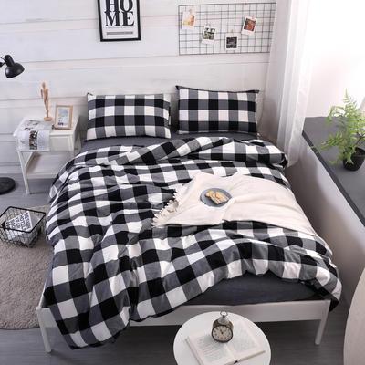 2020新款水洗棉四件套(黑格子2色) 1.2m床单款三件套 黑大格