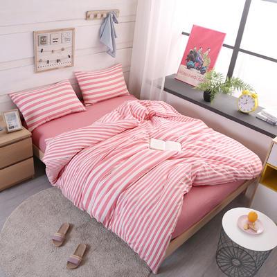 2019新款水洗棉四件套(渐变8色) 1.2m床单款三件套 渐变粉条