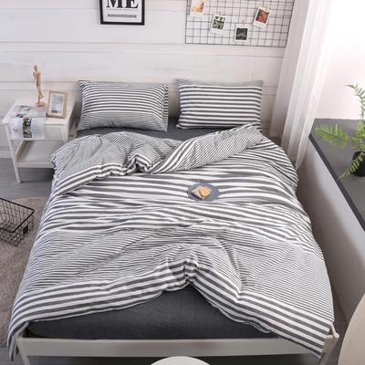 2019新款水洗棉四件套(渐变8色) 1.2m床单款三件套 渐变灰条