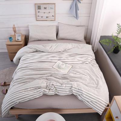 2019新款水洗棉四件套(渐变8色) 1.2m床单款三件套 渐变米条