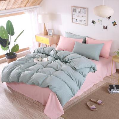 2020新款水洗棉四件套(撞色系列) 1.2m床单款三件套 草绿+浅粉