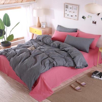 2019新款水洗棉四件套(撞色系列) 1.2m床单款三件套 深灰+胭脂红