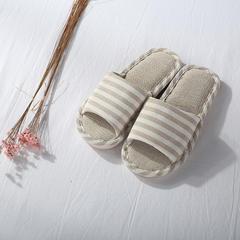 家居拖鞋 女款 均码 米咖条纹