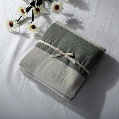 2019新款水洗棉单品系列 水洗棉单品被套 120x150cm 绿灰大格