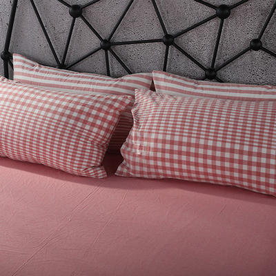 2019新款水洗棉单品系列 单品枕套 48*74cm/个 错落粉格