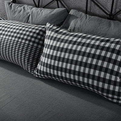 2019新款水洗棉单品系列 单品枕套 48*74cm/个 错落灰格