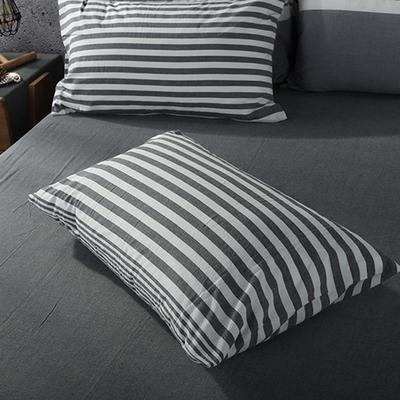 2019新款水洗棉单品系列 单品枕套 48*74cm/个 错落灰条