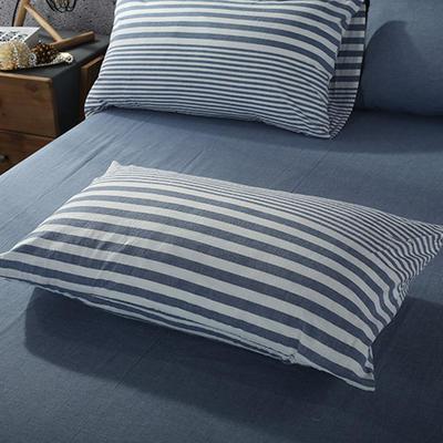 2019新款水洗棉单品系列 单品枕套 48*74cm/个 错落蓝条