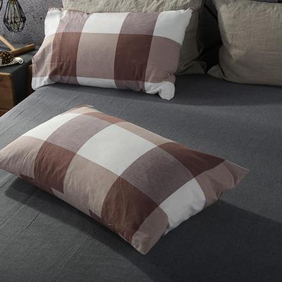 2019新款水洗棉单品系列 单品枕套 48*74cm/个 咖灰大格