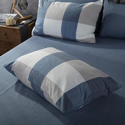 2019新款水洗棉单品系列 单品枕套 48*74cm/个 蓝白大格