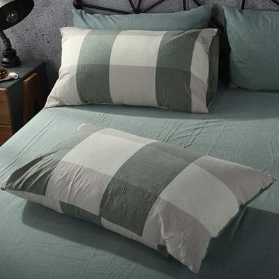 2019新款水洗棉单品系列 单品枕套 48*74cm/个 绿灰大格