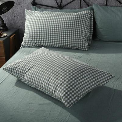 2019新款水洗棉单品系列 单品枕套 48*74cm/个 绿小格