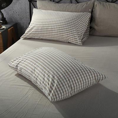 2019新款水洗棉单品系列 单品枕套 48*74cm/个 米色小格