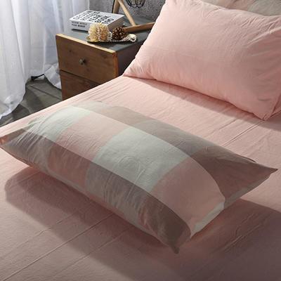 2019新款水洗棉单品系列 单品枕套 48*74cm/个 蜜粉大格
