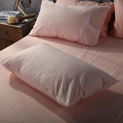 2019新款水洗棉单品系列 单品枕套 48*74cm/个 蜜粉细条