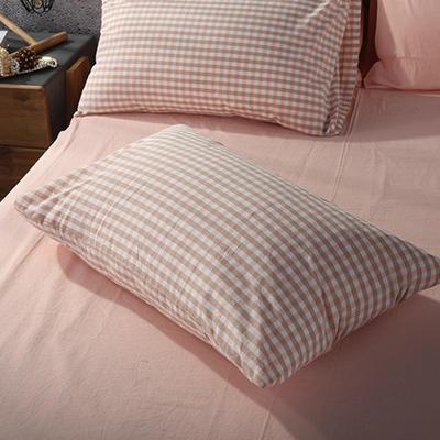 2019新款水洗棉单品系列 单品枕套 48*74cm/个 蜜粉小格