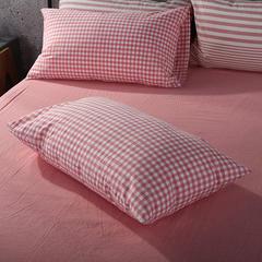 水洗棉单品系列 单品枕套 48*74cm/个 嫩粉小格