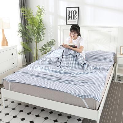 2019新款水洗棉睡袋(大图) 浅蓝小格(180*210m)