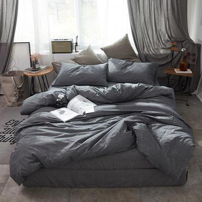 2019新款水洗棉四件套新款 1.2m床单款三件套 纯色铅灰(深灰)