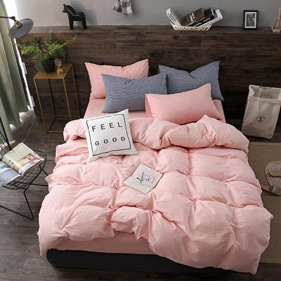 2019新款水洗棉四件套新款 1.2m床单款三件套 粉白细条