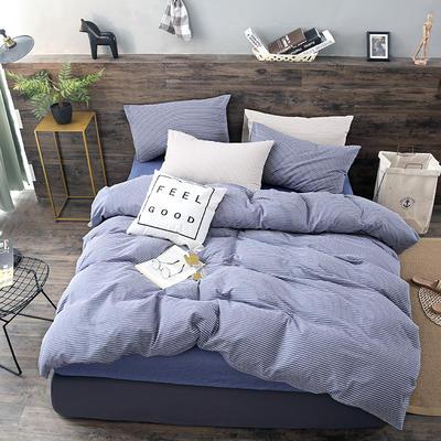2019新款水洗棉四件套新款 1.2m床单款三件套 蓝白细条