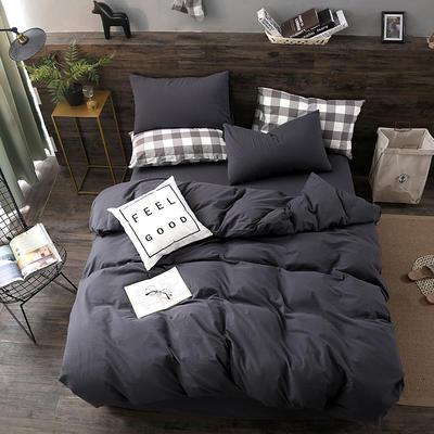2019新款水洗棉四件套新款 1.2m床单款三件套 蓝灰纯色