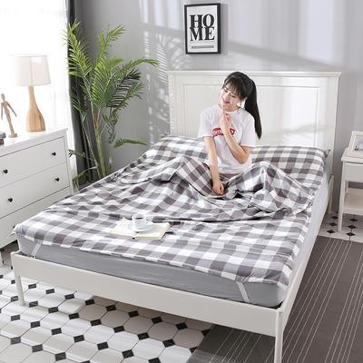 2019新款水洗棉睡袋 灰白中格(160*210m)