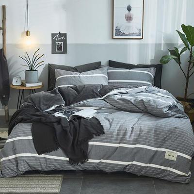 2019新款全棉水洗棉暖绒四件套 1.5m床单款 铅华