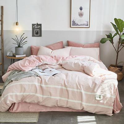 2019新款全棉水洗棉暖绒四件套 1.5m床单款 清欢