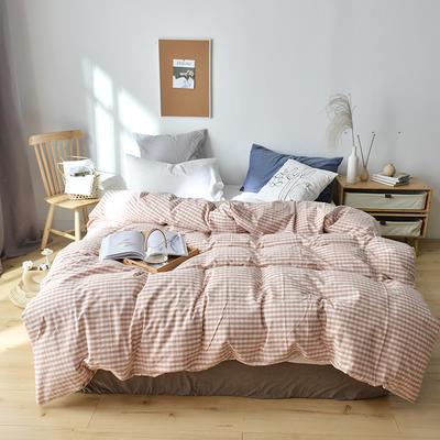 2019新款水洗棉单品被套 120x150cm(婴儿床使用) 初粉小格