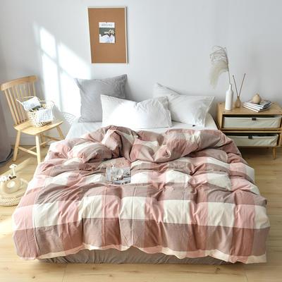 2019新款水洗棉单品被套 120x150cm(婴儿床使用) 粉灰格