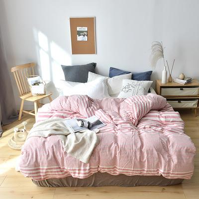 2019新款水洗棉单品被套 120x150cm(婴儿床使用) 粉渐条