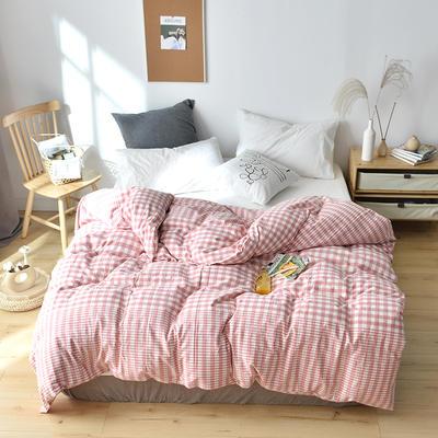 2019新款水洗棉单品被套 120x150cm(婴儿床使用) 渐粉格