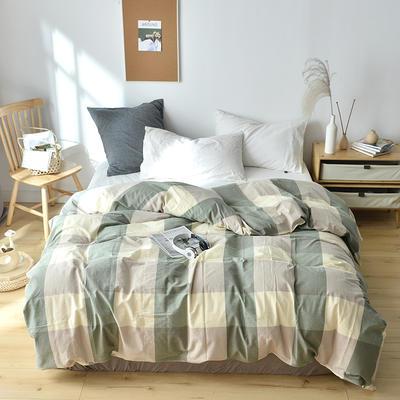 2019新款水洗棉单品被套 120x150cm(婴儿床使用) 渐绿格