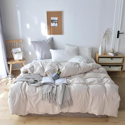 2019新款水洗棉单品被套 120x150cm(婴儿床使用) 卡其条
