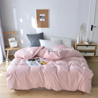 2019新款水洗棉单品被套 120x150cm(婴儿床使用) 藕粉小格