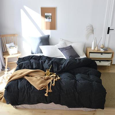 2019新款水洗棉单品被套 120x150cm(婴儿床使用) 时尚黑条