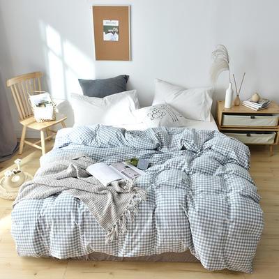 2019新款水洗棉单品被套 120x150cm(婴儿床使用) 水蓝小格