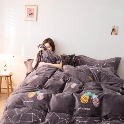 2019新款牛奶绒法莱绒水晶绒雪花绒四件套 1.5m床单款 菠萝