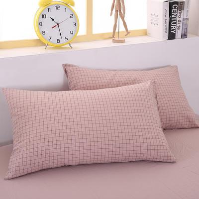 2020新款水洗棉单品系列 单品枕套 48*74cm/个 黑线粉格