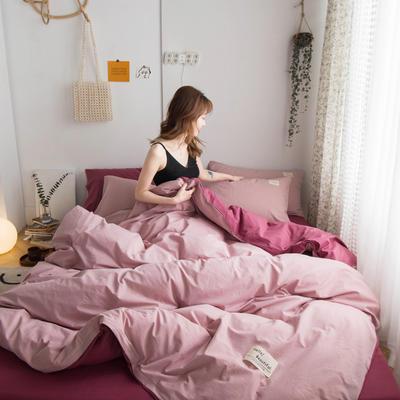 2020新款复古撞色全棉水洗棉四件套 1.5m床单款四件套 暗粉+绛紫